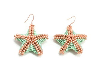 Beaded Starfish Earrings - Green Bead Earrings - Beach Jewelry - Summer Earrings - Dangle Earrings - Large Earrings - Seed Bead Jewelry