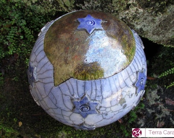 Ceramic Raku Pet Urn - ready to ship