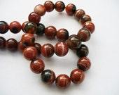 Agate Beads Gemstone Dark Orange Round 10MM