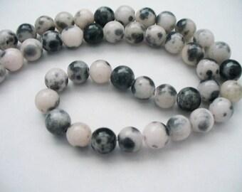 Jade Beads Gemstone Blacks, Gray and White  Round 8MM