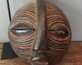 Vintage Hand-Crafted Tribal ASHANTI Mask from the Akan people in Ghana