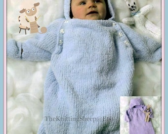 PDF Knitting Pattern - Babies Sleeping Bag/ Sleep Suit or Cocoon + Toy Rabbit - Instant Download