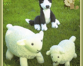 PDF Knitting Pattern for Sheepog Sheep & Lamb Soft Toys - Instant Download