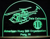 "Huey Helicopter Vietnam Veterans SAMPLE ONLY Acrylic Lighted Edge Lit Led Sign 13"" Full Size USA Original"