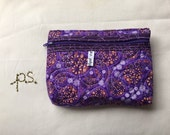 Small quilted purple pouch