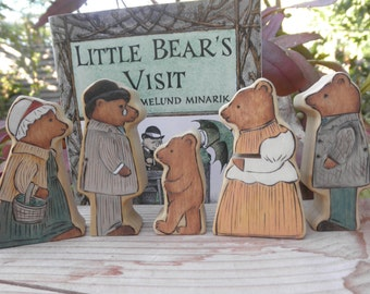 Wood Toys-Story Book Series-Little Bear's Visit-Surprise Story Dice-Pretend Play-Waldorf Inspired