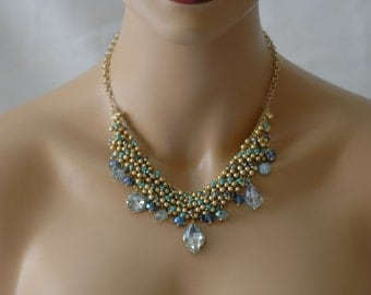SALE- Bib Necklace, Dangle Necklace, Crystal Necklace, Gift for her, Turquoise and gold necklace, Dangling crystal Neklace