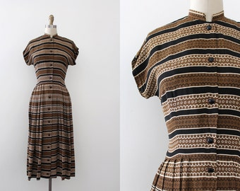 vintage 1940s rayon dress // 40s brown button up day dress