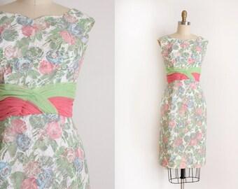 CLEARANCE vintage 1950s dress // 50s 60s floral cocktail dress