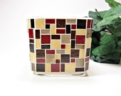 Stained glass mosaic votive candle holder brown red amber