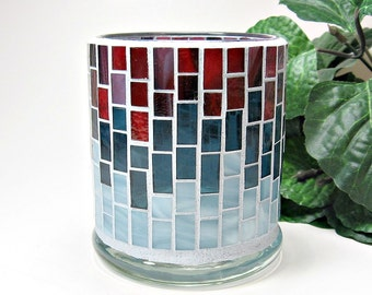 Stained glass mosaic votive candle holder red blue handmade