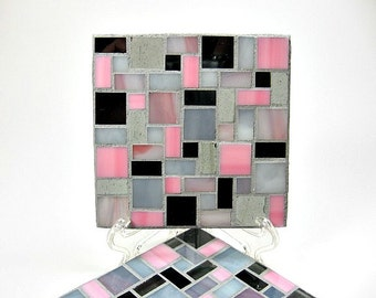 Stained glass mosaic coaster set pink, gray and black