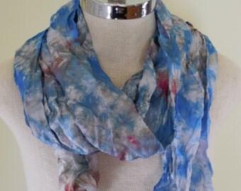Ready to Ship Blue Skies Hand Dyed Silk Scarf / Silk Habotai Crystalline Scarf / Holiday Gift Accessories / Waldorf Play Silk