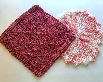 Dishcloths, Knitted Dishcloths, square, round, leaf design, round, facecloth