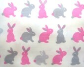 Flannel Fabric by the Yard in a Pink, Grey and White Fun Bunny Print 1 Yard