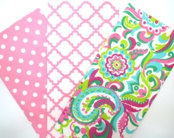 3 Pack of Cotton Flannel Fat Quarters in Soft Spring Paisley Flower, Dot and Trellis Prints
