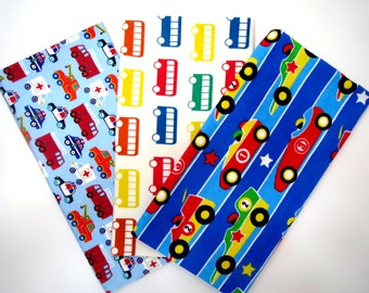 Things That Go 3 Pack Bundle of Cotton Flannel Fat Quarters in a Fun Race Car, Buses and Emergency Vehicle Print Bundle
