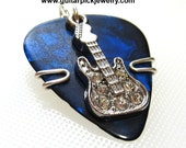 Guitar Pick Pendant - Blue Pick - Guitar charm with rhinestones