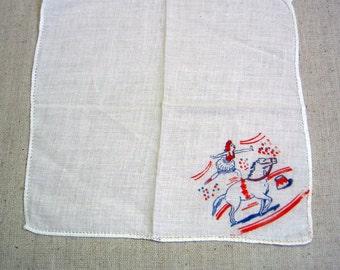 Tiny Printed Cotton Handkerchief, Circus Pony Rider, Child's Hankie