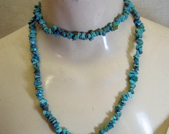 Long Blue Turquoise Chip Necklace, Vintage, 34 inches