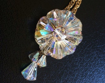 Aurora Borealis 1950's Bead Necklace Pendant and Brooch