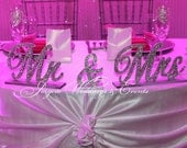Mr. & Mrs. Rhinestone Sweetheart Table Signs, Head table decor, Cake table, Wedding decor