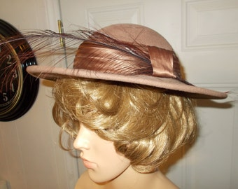 Vintage Betmar Hat with Feather Taupe Brown Satin Ribbon Flirty Feather BETMAR