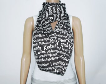 SALE Wizard Spells KNIT scarf - Infinity or Regular made to order