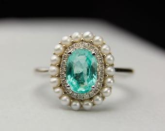 Paraiba Tourmaline 1.26ct 18K Gold Halo Ring Pearl Diamond AIGS Certified Oval Wedding Engagement FG173