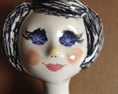 Porcelain Mod Female Head.  Vintage 1960.  Mid Century Modern. Eames ERA