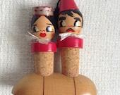 Wood Bottle corker Figures. 1960's Vintage Figural Cork pair.  Mod, Mid century, Danish Modern, Eames era.