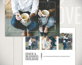 Christmas Card Template: Urban Holiday A - 5x7 Holiday Card Template for Photographers