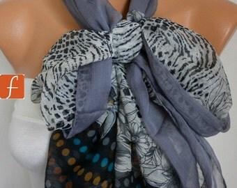 Gray Floral Chiffon Scarf,Wedding Scarf,Bridal Shawl, Fall Scarf, Bohemian,Cowl Scarf Gift Ideas For Her Women's Fashion Accessories