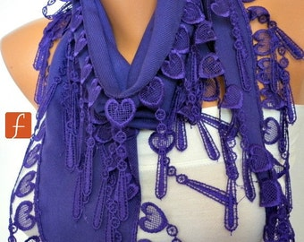 Purple Heart Pashmina Scarf,Fall Winter Accessories, Cotton, Cowl Scarf, Gift Ideas For Her, Women Fashion Accessories Scarves,Christmas