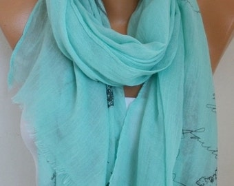 Mint Scarf Christmas Gift Shawl Cowl Scarf Bridal Accessories bridesmaid gift Gift Ideas For Her Women's Fashion Accessories Scarves