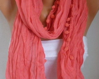 Coral Pompom Scarf Valentine's Day Gift Shawl Scarf  Cotton Scarf Cowl Gift Ideas For Her Women Fashion Accessories Scarves