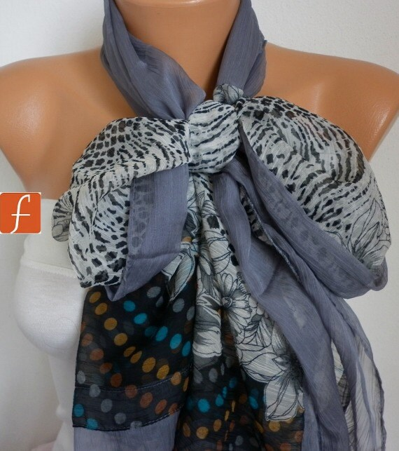 50% OFF - Gray Floral Chiffon Scarf,Wedding Scarf,Bridal Shawl,Fall Scarf,Bohemian,Cowl Scarf Gift Ideas For Her Women's Fashion Accessories