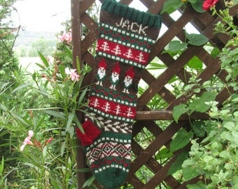 Knitted Holiday Stocking with Gnomes Fair Isle Personalized Customized Christmas Stocking choose color, pattern, size Made to Order