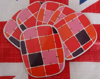 Set of 6 1960s 1970s drinks coasters beer mats mod geometric barware tableware kitchenalia made in England