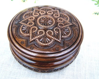 Jewelry box Wooden box Ring box Carved wood box Wedding gifts Wood carving Jewellery boxes Wood boxes Wooden jewelry boxes schatulle B47