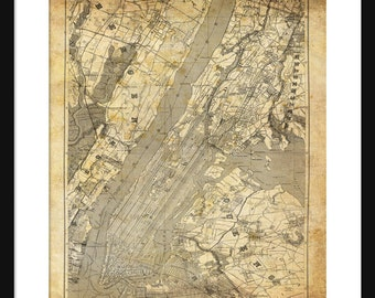 New York City Map 1890 Map Grunge Vintage Print Poster