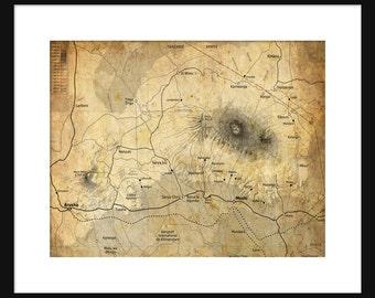 Mount Kilimanjaro Map - Print Poster - Kilimanjaro - Sepia Grunge