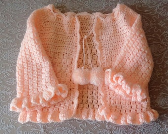 Crochet Sweater, Vintage sweater, Peach sweater Toddler Girl's sweater, Vintage clothing
