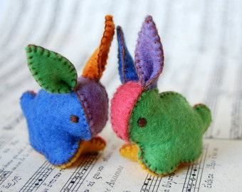 Twin Felted Baby Bunnies -- Multicolored set of Toys -- Hand Made in Canada Pure Merino Wool Handmade Felt
