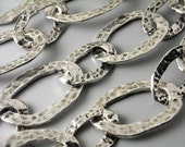 CHAIN-AS-A-28MM - Large Link Antique Silver Textured Chain - 3-Foot