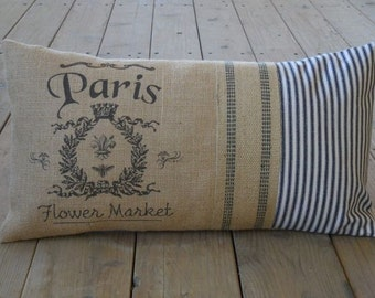 Paris Lumbar Burlap Pillow, Ticking &Jute ribbon,  Shabby chic, French Country, INSERT INCLUDED