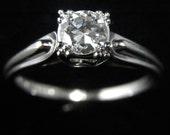 Vintage Engagement Ring Transition Cut Diamond Platinum Bridal Estate