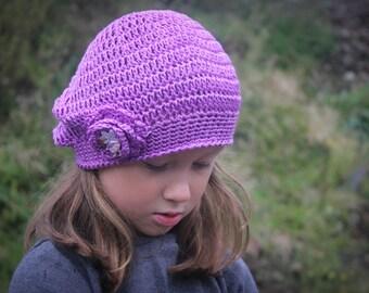 CROCHET Hat PATTERN: 'Jayda Rose Beret', Crochet Flower, Newborn thru Adult
