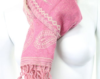 scarf- woven-jacquard-paisley-pink-pastel-baby-ivory and pink-pink and white-pure wool