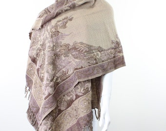 throw-shawl-jacquard-paisley-cream-beige-brown-earth tones-hand embroidered-double sided-pure soft wool-xl-extra large-throw-mauve